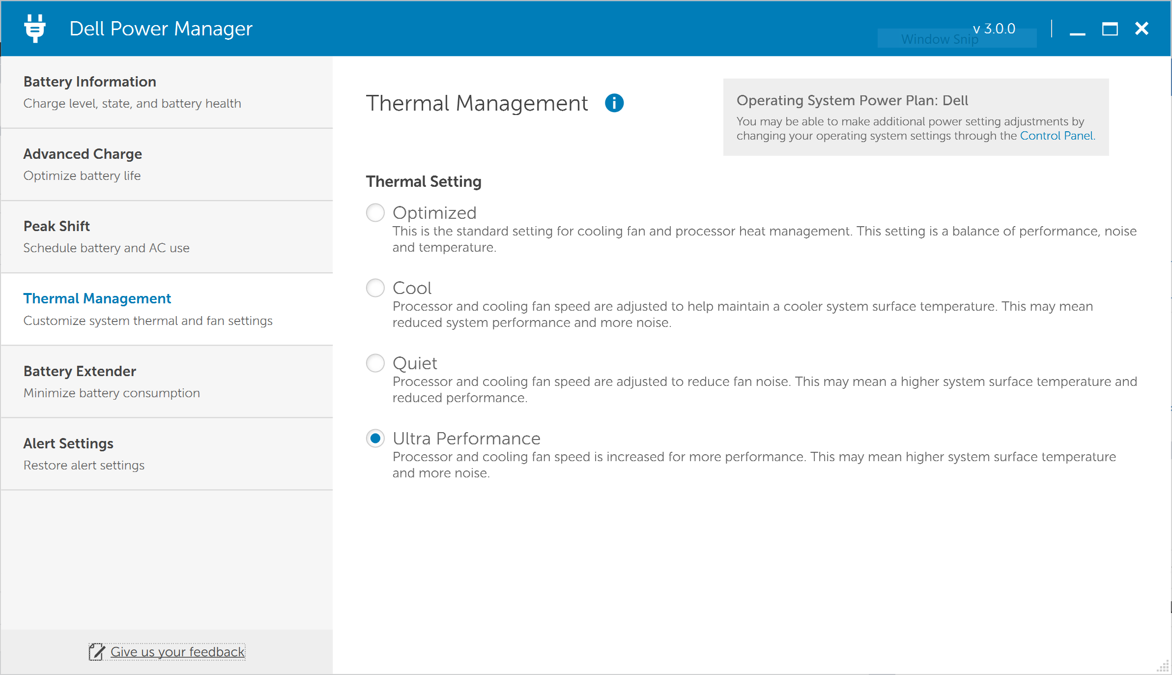 Screenshot of Dell Power Manager